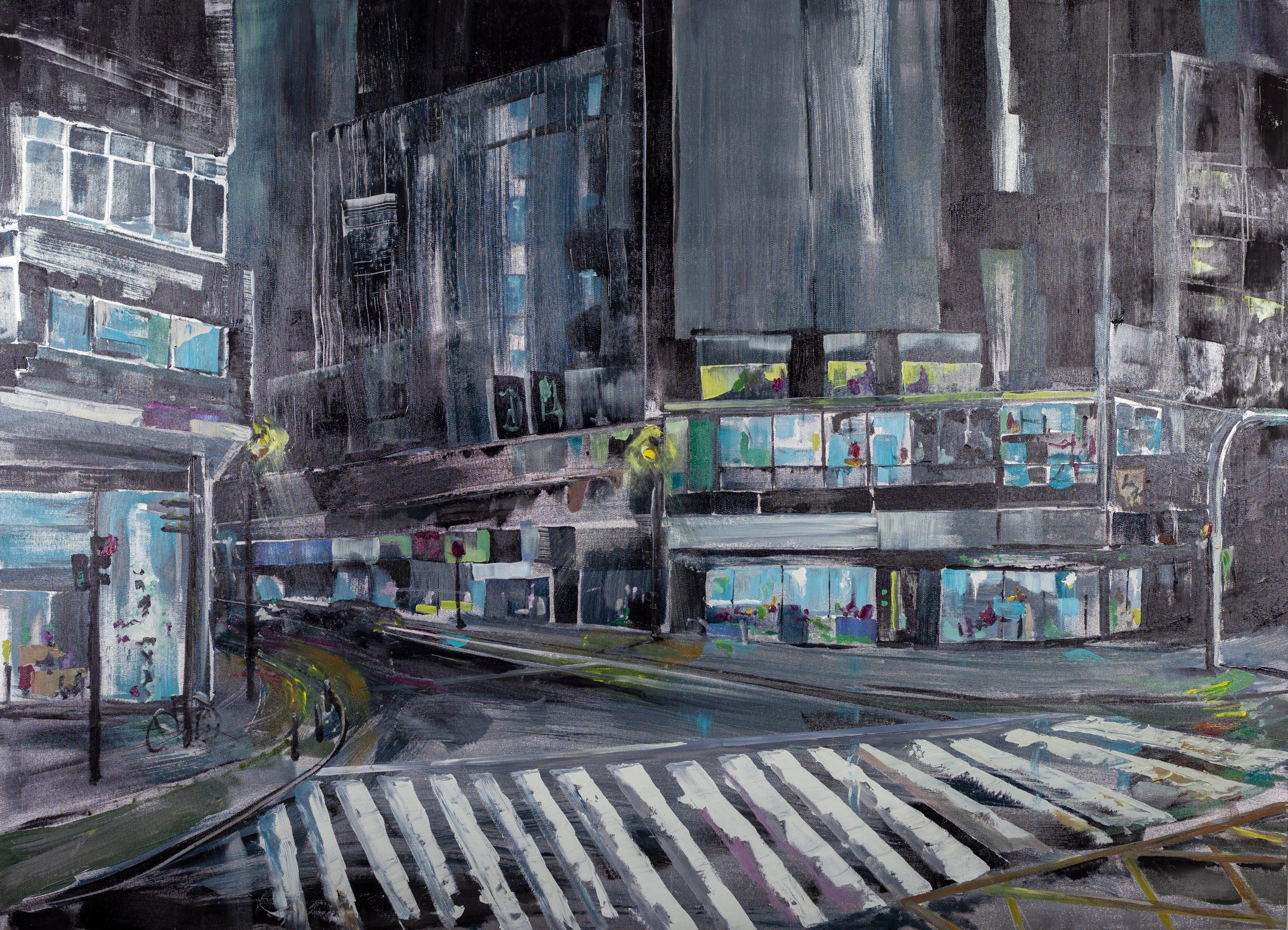 Autora. Raquel García Hofmann Título: Nocturno - XXV Concurso de Pintura Rápida al aire libre de Zona Mesa y López